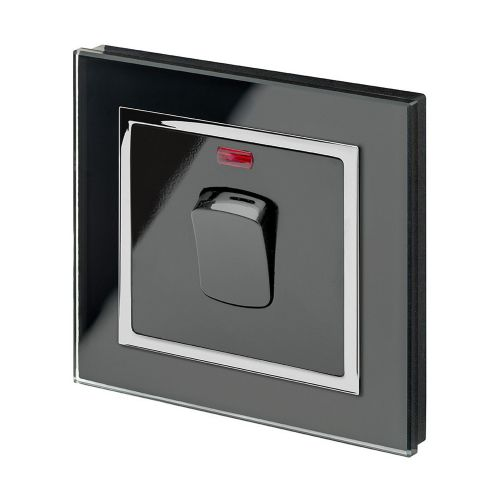 RetroTouch 20 Amp Double Pole Heater Switch Black Glass CT 01725